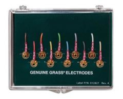 """Genuine Grass Reusable 10mm Gold Cup Surface Electrode, 48"""" No-Tangle wire, 10/box"""