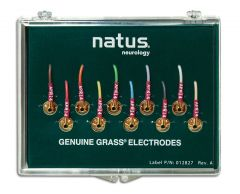 Genuine Grass 10mm Gold Cup EEG Electrode with touchproof connector - Box of 10