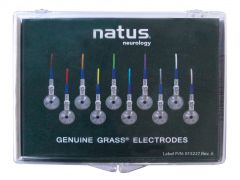 """Genuine Grass 10mm Silver Cup EEG Electrode with touchproof connector 48"""" wire - Box of 10"""